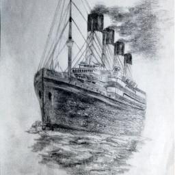 i love draw drawn drawing art artist whiteandblack pencil ship titanic bestdrawing sea follow followme