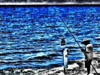 photography black & white color splash lake blue